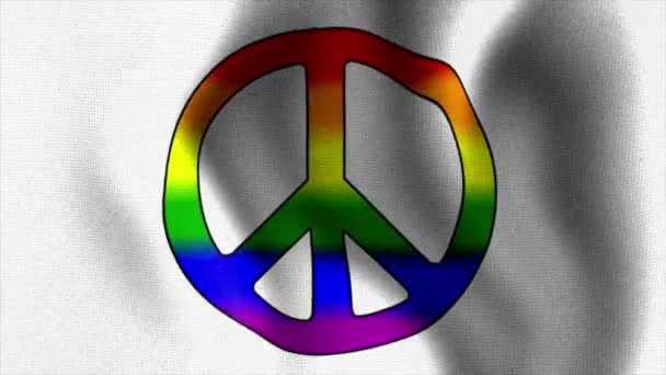Ondeando la bandera del arco iris el signo de paz 10584 — Vídeo de stock