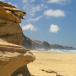 Stock Video: Roque del Morro and sandstone cliff coast wide 11118