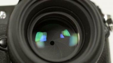 Photo camera iris long exposures loopable audio 11344 — Stock Video