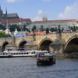 Boat traffic charles bridge prague close 11373 — Stock Video #49329905