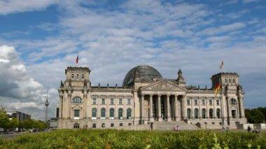 Berlin german bundestag with tv tower in background — Stock Video