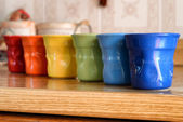 Six Colored Cofee Cups from blue to red — Stock Photo