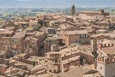Siena - luchtfoto van Mangia de toren — Stockfoto