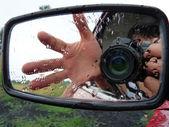 Photos through raw mirror — Stock Photo