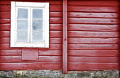Frosty red timber wall — Stock Photo