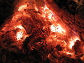 Red and hot embers in stove close up — Stock Photo