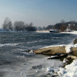 Winter landscape of frozen river with a log on riverside — Stock Photo