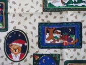 Detail of holiday tablecloth background, horizontal orientation — Photo