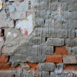 Damaged mortar vintage brick wall background — Stock Photo