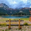 Emty bench, red tree and lake — Stock Photo