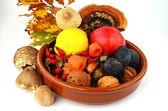 Decoration of autumn fruits — Stock Photo