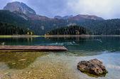 Lake, stone, platform and ducks — Stock Photo