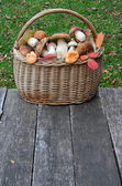 Wild mushrooms in a a wicker basket — Foto de Stock