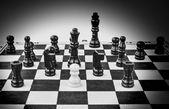 Шахматные фигуры b&w — Стоковое фото