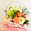 Stock Photo: Gift and flower arrangement