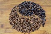 Forma de yang yin Coffe — Fotografia Stock
