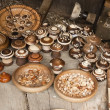 Various small ware (saltern, box, plate) handmade of wood — Stock Photo