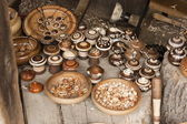 Various small ware (saltern, box, plate) handmade of wood — Foto de Stock