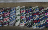 Traditional bulgarian colorfull wool stocking — Stockfoto