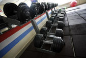 Dumbbells are at stand at the gym — Stock Photo