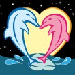 Dolphins In Love — Stockvectorbeeld