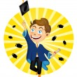Young Boy Jumping On Graduation — Stock Vector