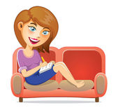 Young Girl Writing A Book On Sofa — Stock Vector