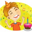 Young Boy Ready To Blow His Birthday Cake — Imagens vectoriais em stock