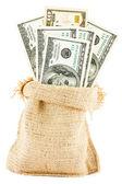 Dollar bills in a canvas sack — Stock Photo