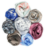 The set of silk scarves associated rose — Stock Photo