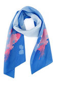 Blue silk scarf with colors on a white background — Stock Photo