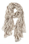 A scarf is silk beige with strakes strung on a knot — Stock Photo