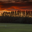 Beautiful Sunset over football Field — Stock Photo