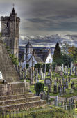 Eerie Church and Graveyard — Stock Photo