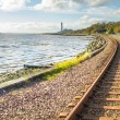 Railway tracks at Culross Scotland - Stock Photo