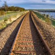 Railway tracks in sunshine — Stock Photo