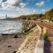 Railway tracks by the sea — Stock Photo