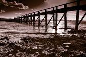 Humeurig Schotse pier — Stockfoto