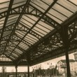 Train station steel roof — Stock Photo