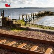 Scotland Flag on Culross Pier — Stock Photo