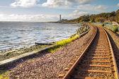 Railway tracks at Culross Scotland — Stock Photo