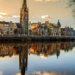 Church Steeple reflection on the River Tay — Stock Photo