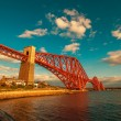 Sunset on the Forth Bridge in Edinburgh Scotland — Stock Photo