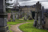Pathway inside spooky Graveyard — Stock Photo