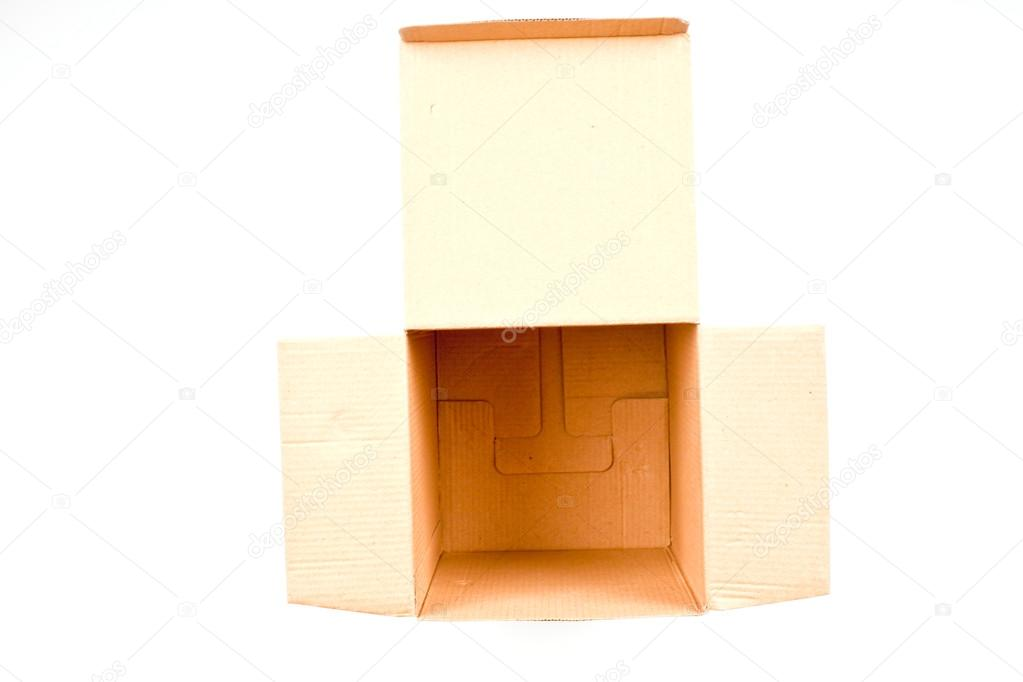 Open cardboard box on white — Stock Photo #13475877