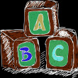 ABC cubes colored — Stock Photo #13996875