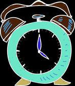 Drawing blue clock — Stock Photo