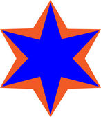 Blue star with orange edges — Zdjęcie stockowe