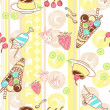 Stock Photo: Seamless pattern with ice cream and cake