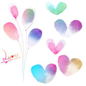Love card with watercolor hearts — Stock Photo